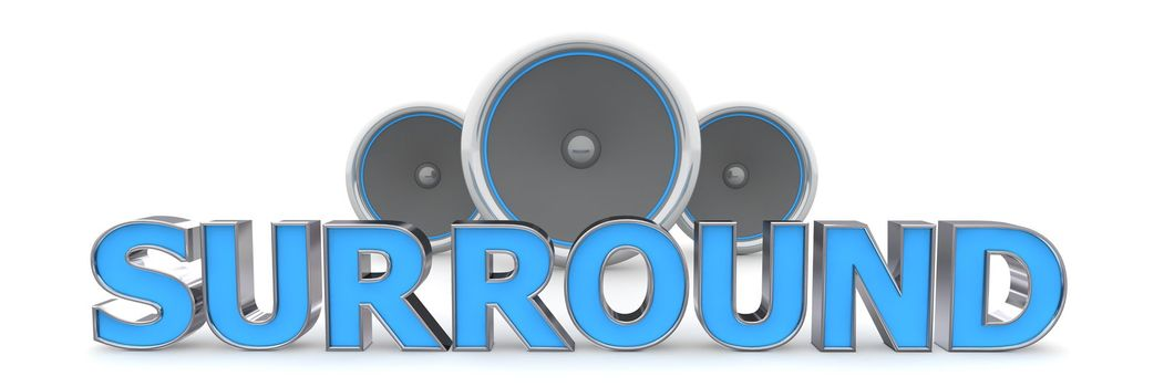 Three Speakers - SURROUND in Blue