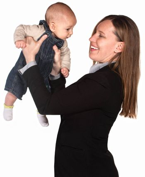 Pretty Hispanic female executive holding baby boy