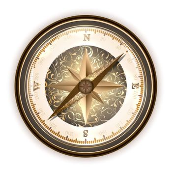 Vintage antique compass over white