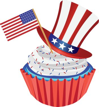 4th of July Independence Day Red White and Blue Cupcake with USA Flags and Hat Illustration