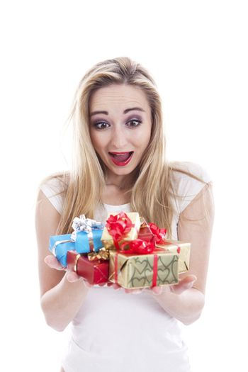 beautyful happy blond woman with present isolated celebration