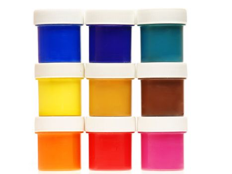 Multi-colored gouache paint isolated on a white background