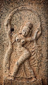 Bas reliefs in Hindue temple. Brihadishwarar Temple. Thanjavur,
