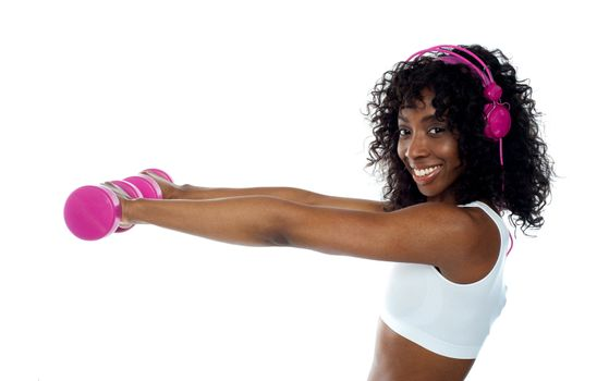 Teenager listening to music and exercising