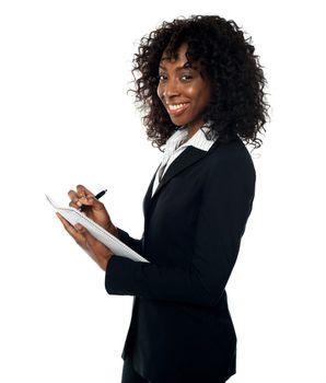 Corporate lady preparing annual reports