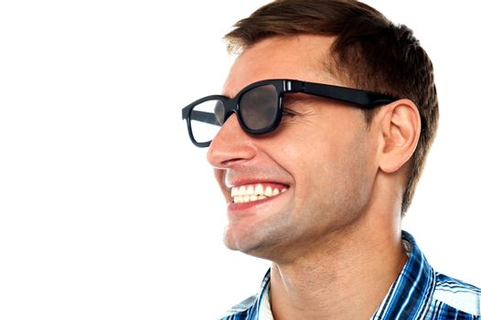 Cheerful adult male having a good laugh