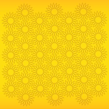 fine abstract background with sunflowers on yellow