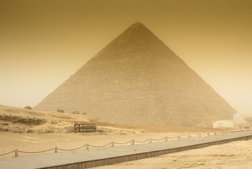Cheops pyramid  in sandstorm