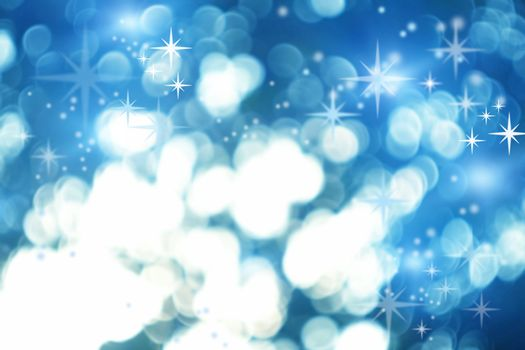 Illustration of the Christmas card with abstract bokeh background and stary ice and snow