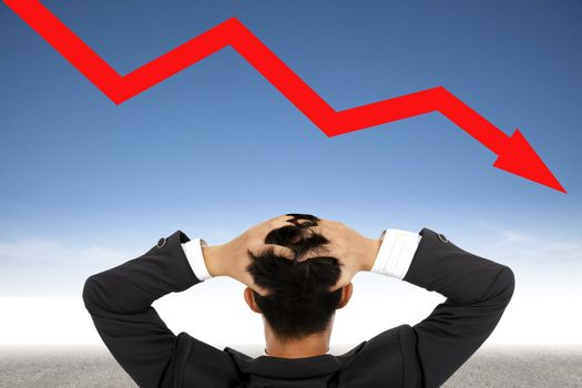 depression businessman watching  falling financial line