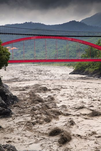 heavy rains in valley and river in flooding