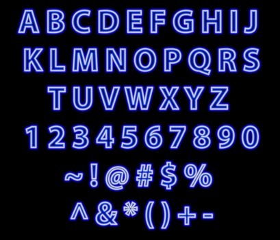 blue neon sign text . great for making your own nean sign.