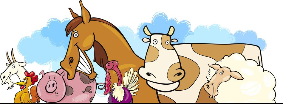 Cartoon illustration of Farm animals header design