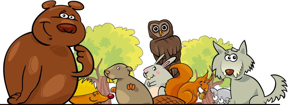 Cartoon illustration of Forest Animals header design