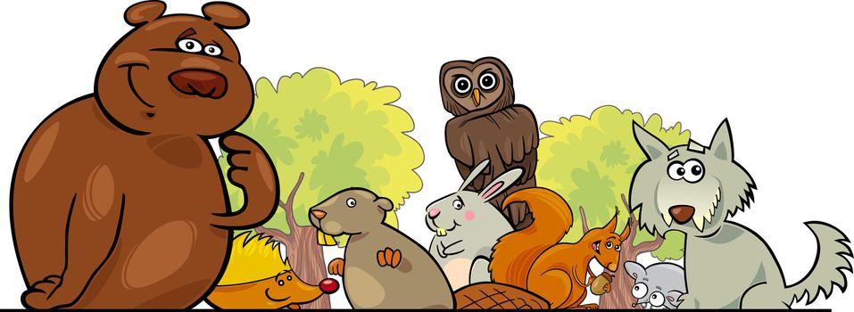 Cartoon illustration of Forest Animals header design
