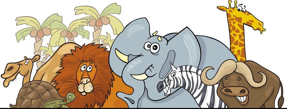 Cartoon illustration of African Safari Wild Animals header design