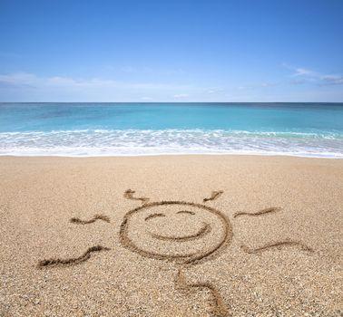 happy sun on the beach with clear sky