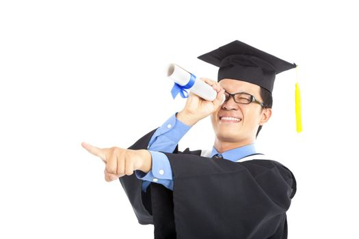 graduating student watching and pointing