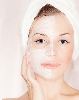 Facial mask on beautiful face