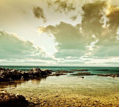 Grunge sea landscape