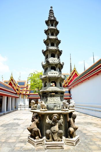 Statues Pagoda in Wat Pho of Thailand.