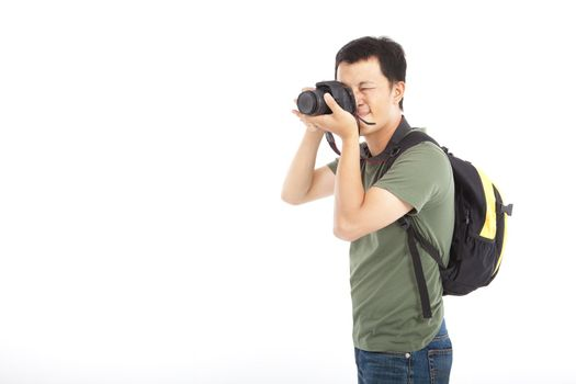 young traveler with photo camera