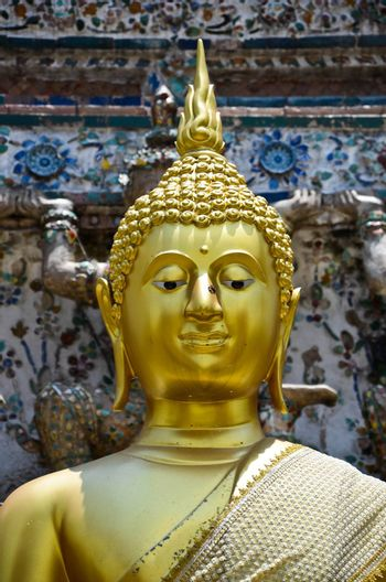 Buddha statue in Wat Arun of Bangkok in Thailand.