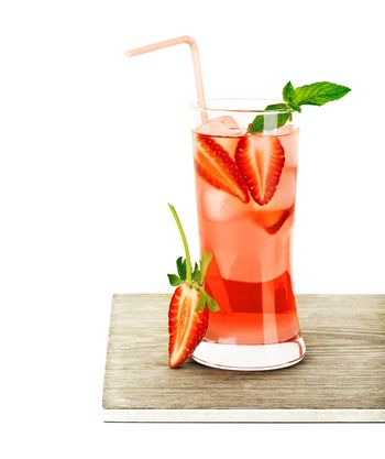 Red fruity strawberry cocktail