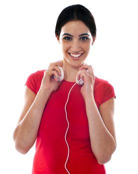 Fashionable girl with headphones