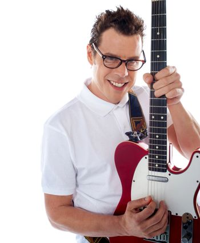 Closeup of a male guitarist