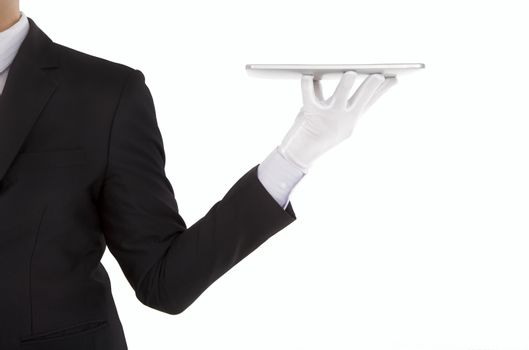businessman holding the tablet pc