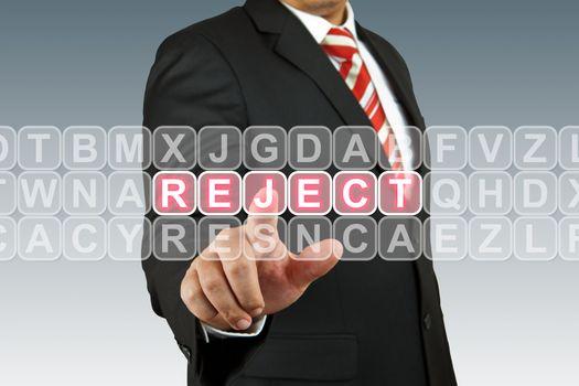 Businessman puch Reject