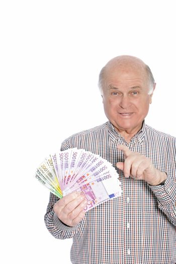 Successful senior man with banknotes