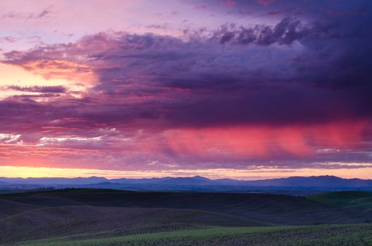 Storm clouds at sunrise and the distant Clearwater Mountains, Latah County, Idaho, USA