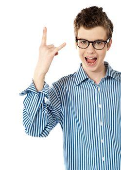 Boy with a trendy YO gesture