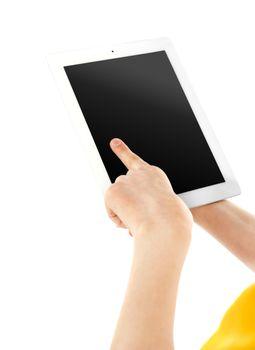 Boys finger on electronic digital frame