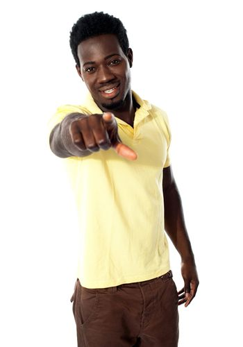 An african male pointing at you