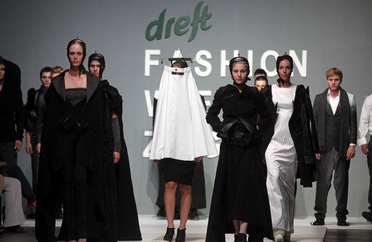 "ZAGREB, CROATIA - May 11: Fashion model wears clothes made by Safak Tokur on ""ZAGREB FASHION WEEK"" show on May 11, 2012 in Zagreb, Croatia."