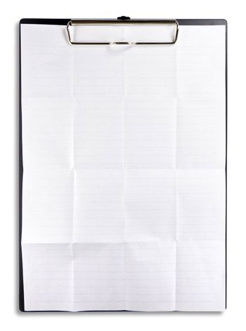 white crumpled paper with clipboard isolated