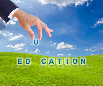 business man hand made education word buttons on green grass meadow