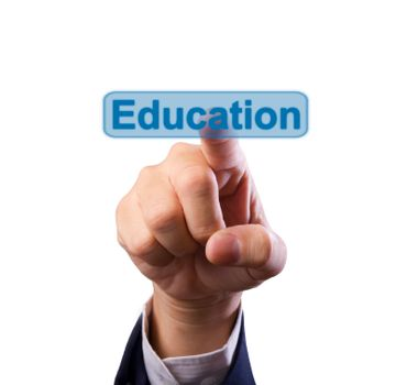 business man hand pushing education button isolated