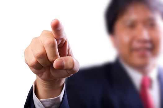 business man pointing finger isolated