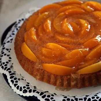Colourful peach flan or tart