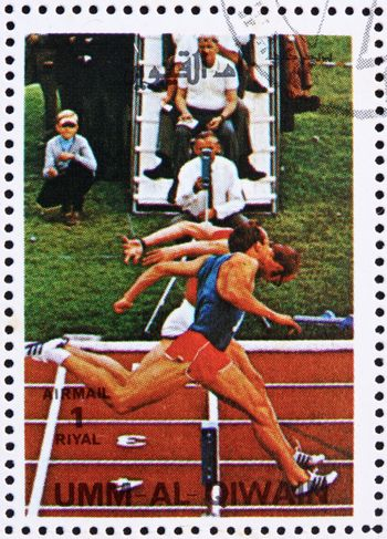 UMM AL-QUWAIN - CIRCA 1972: a stamp printed in the Umm al-Quwain shows Sprint, Olympic Sport, Olympic Games of the past, circa 1972