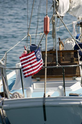 Nautical American flag on aft of sailboat