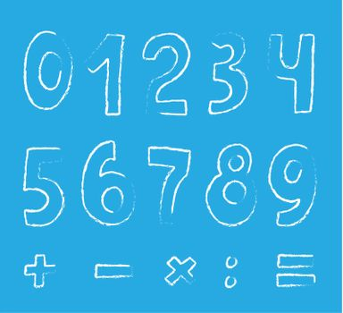 vector set of numbers on blue