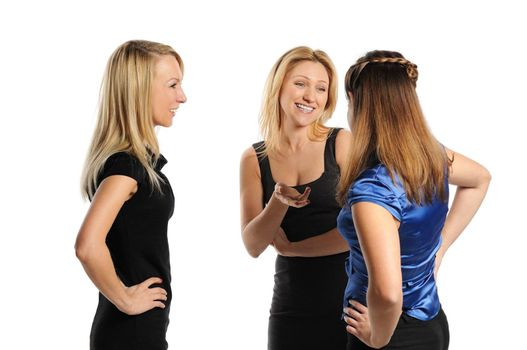 Three young attractive women discussing. Isolated on white.