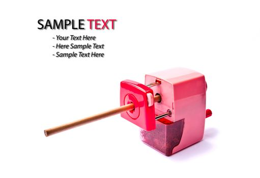 pink pencil sharpener isolated on white background