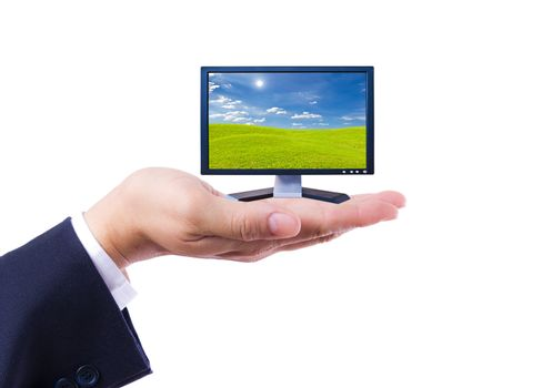 Flat screen Monitor in hand isolated