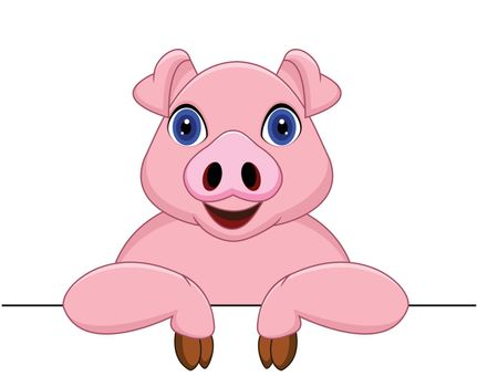 vector illustration of Pig with blank sign